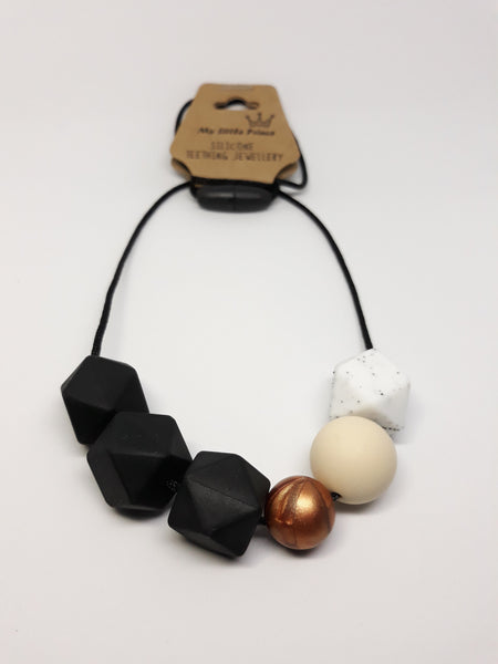 Black and copper teething necklace