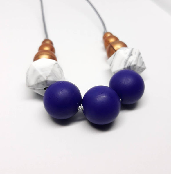 Marble and navy necklace teether