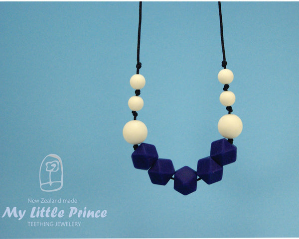 navy blue silicone teething necklace my little prince