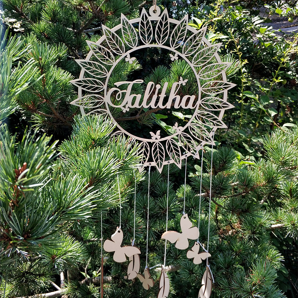Personalised Wooden Dreamcatcher - butterfly and feathers