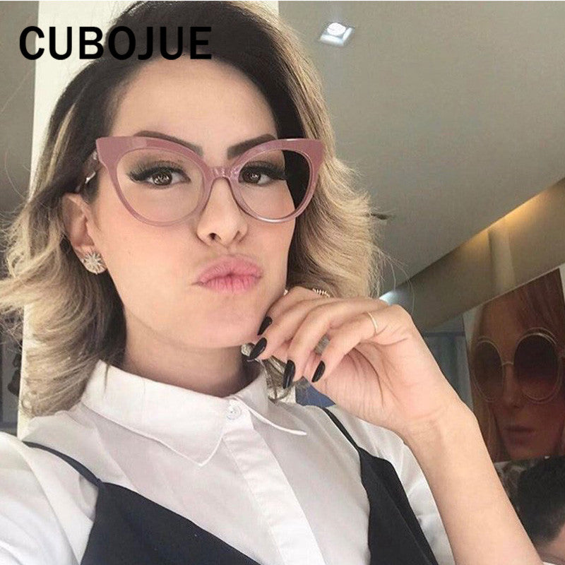 d7876c9c04b7d Cubojue Vintage Cat Eye Woman s Glasses Retro Cateye Frame for Female Grade  Points Small Nerd Fashion