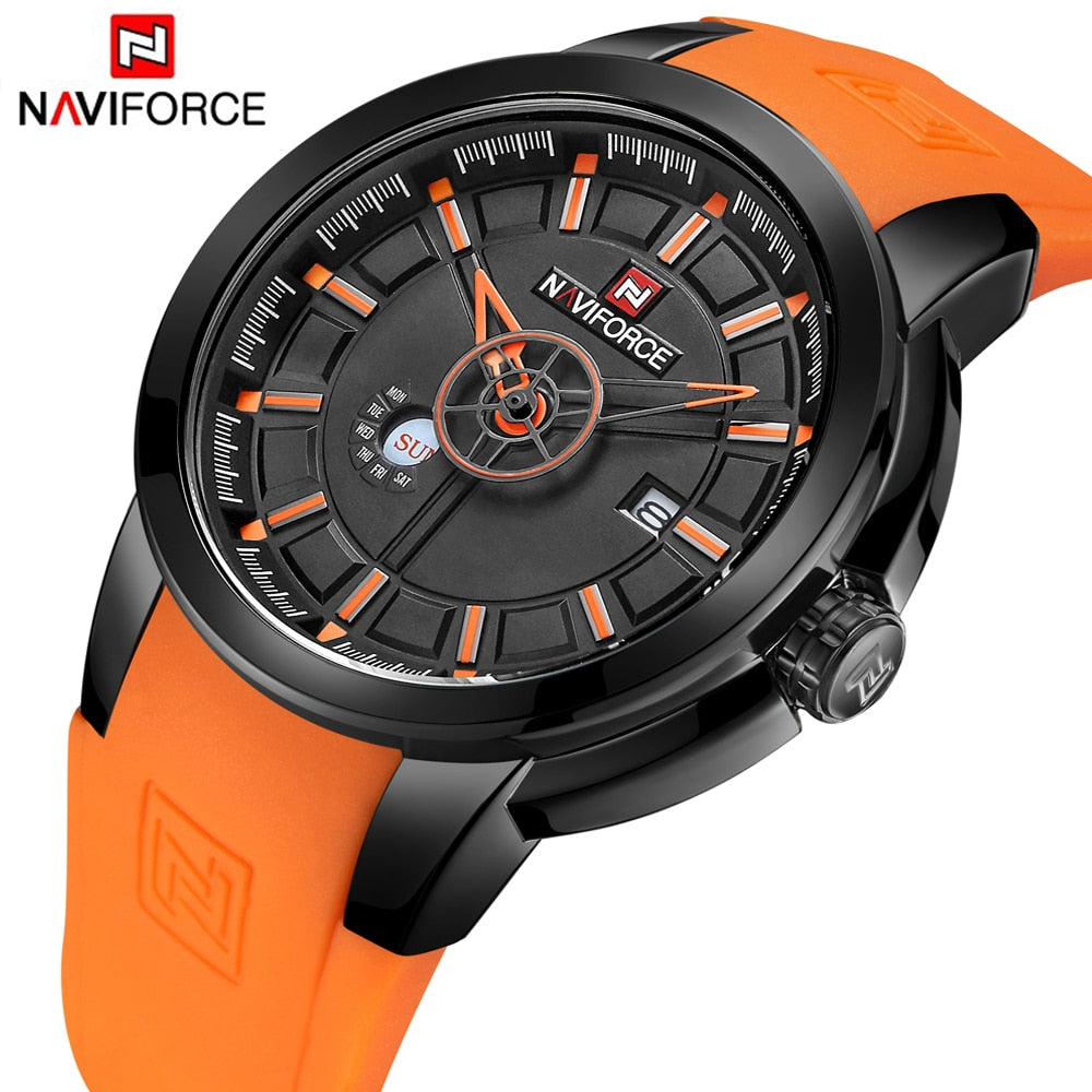 159ebe5bb NAVIFORCE Luxury Brand Military Watches Men Quartz Analog 3D Face Rubber Clock  Man Sports Watches Army