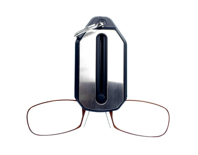 e040dc292bb Clip Nose Reading Glasses Magnifier men Mini Folding Reading Glasses Women s  Easy Carry With Key Chain