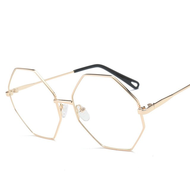 0ecfb690b2d6 Hexagon Glasses Frame Retro Round Eyeglass Frame Vintage Spectacles Optical  Computer Glasses Freme Unisex NO Degrees