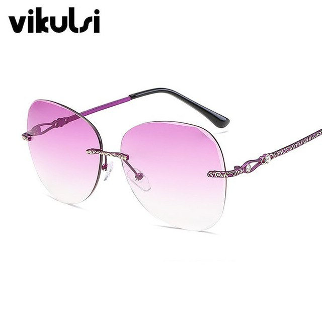 dbdea8a63782 Classic Clear Rimless Sunglasses Diamonds Frame Gradient Vintage Sunglass  Women Men UV400 Cat Eye Eyeglass Pink