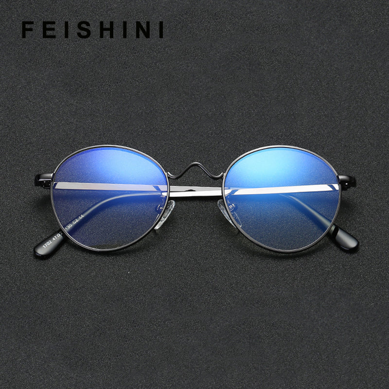 6b3fe4da7b5 FEISHINI Brand High Quality Metal EyeGlasses Frame For Women Computer  Goggles Filter Blue Line Round Glasses