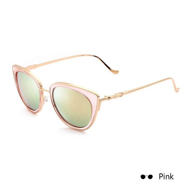 e805eea8985 New Colorful Cat Eye Sunglasses Women Sun Glasses Metal Frame Eyewer  Fashion Ladies Glasses oculos de
