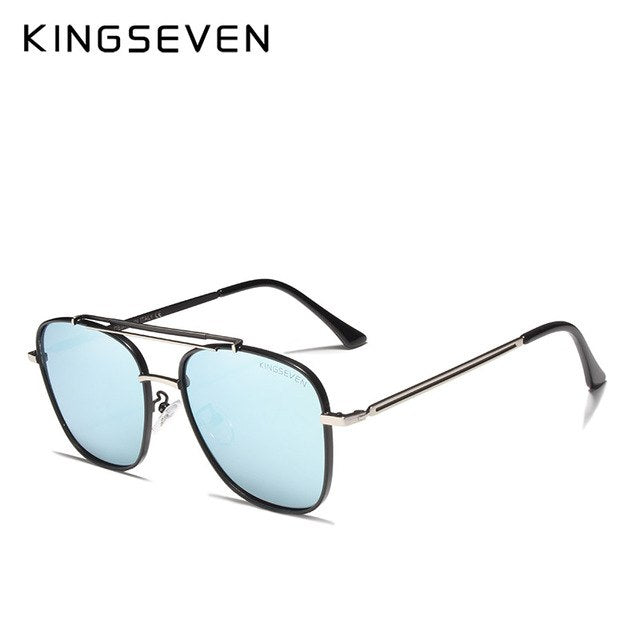 19397117ac KINGSEVEN DESIGN Unisex Men Polarized Sunglasses Square Frame Stainless  Steel Fashion Male Eyewear UV Protection N7388