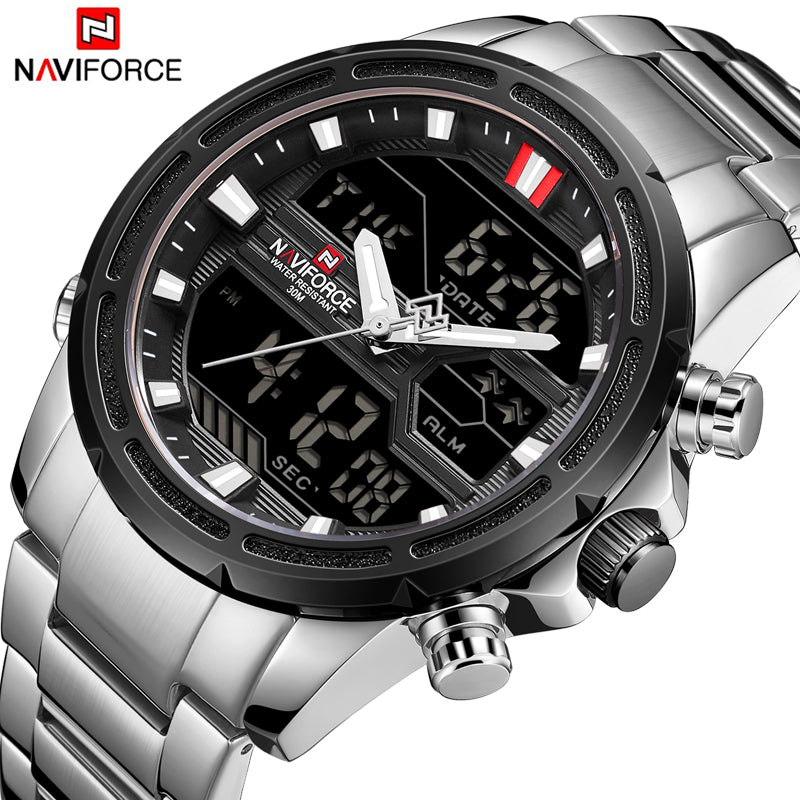 NAVIFORCE Top Brand Men Military Sport Watches Mens LED Analog Digital  Watch Male Army Stainless Quartz dc1c543ae7