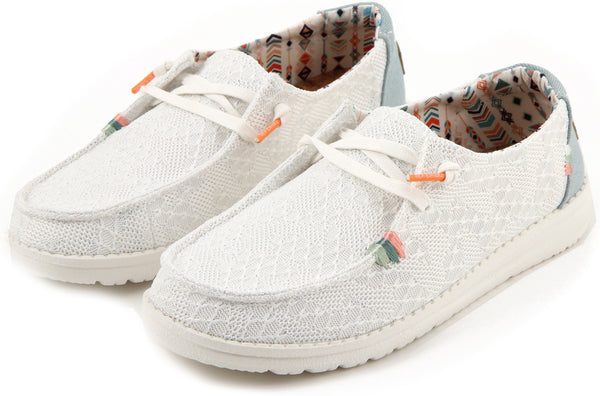 HEYDUDE WENDY WHITE CROCHET CANVAS ULTRA KEVYT LOAFER