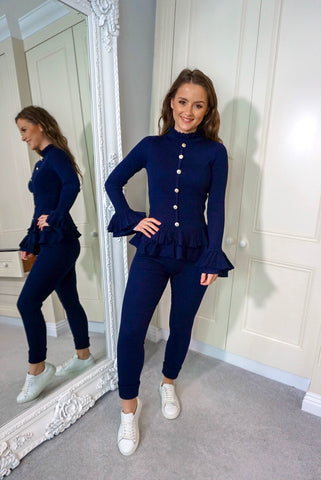 Navy Loungesuit with Frill Cuffs and Hem and Gold Buttons