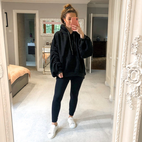 Styled Clothing Oversized Hoodie with Ruched Sleeves Black