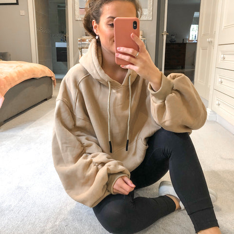 Styled Clothing Oversized Beige Hoodie with Ruched Sleeves
