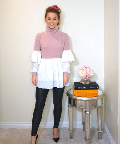 Styled Clothing Pink Jumper with Ruffle Blouse