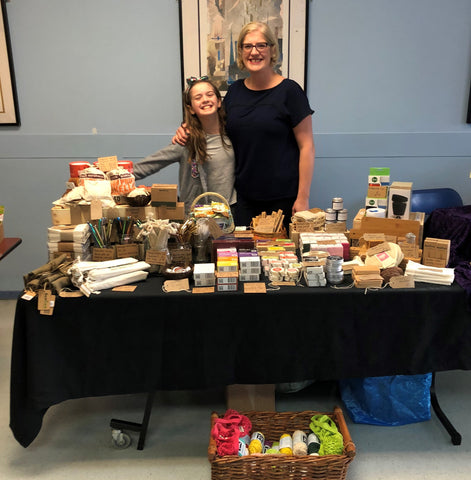 Lorna and Ailsa at a fair stall with lots of eco-friendly products