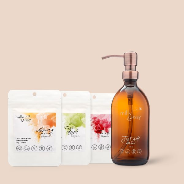 Milly and Sissy amber glass bottle with trio of handwash pouches