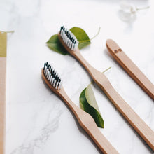 Load image into Gallery viewer, Bamboo toothbrushes set of 4