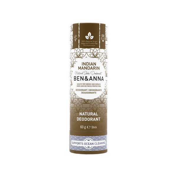 Ben and Anna natural deodorant in paper tube Indian mandarin