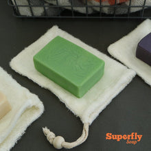 Load image into Gallery viewer, Eco-friendly bamboo soap bag with green soap
