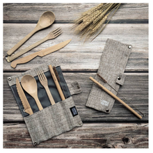 Load image into Gallery viewer, Bamboo cutlery and straw set ash