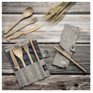 Bamboo cutlery and straw set ash