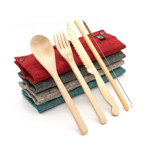 Bamboo cutlery and straw set mixed colours