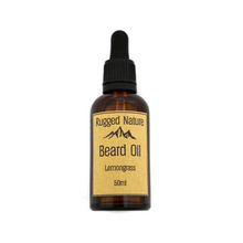 Load image into Gallery viewer, Rugged Nature eco friendly beard oil lemongrass