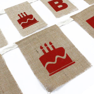 Natural jute bunting birthday