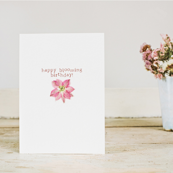 Eco card blooming birthday