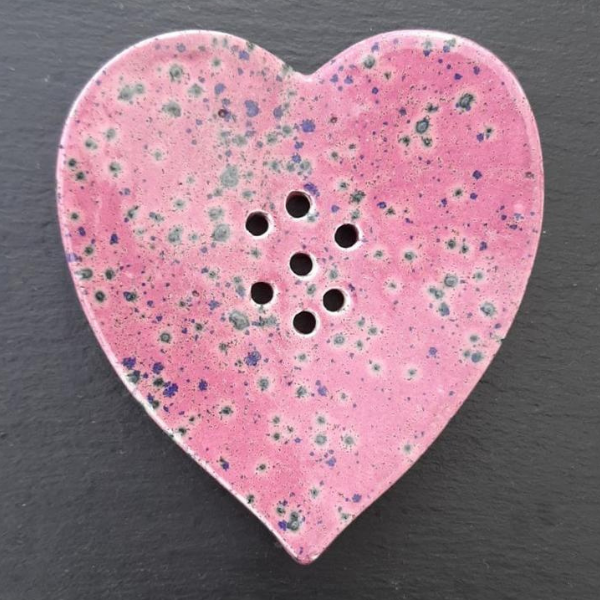 Ceramic soapdish Heart Pink Heather