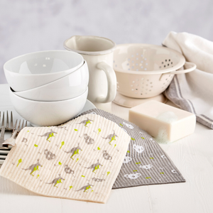 Compostable sponge cloths with dishes