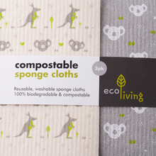 Load image into Gallery viewer, Compostable sponge cloths 2-pack (koala)