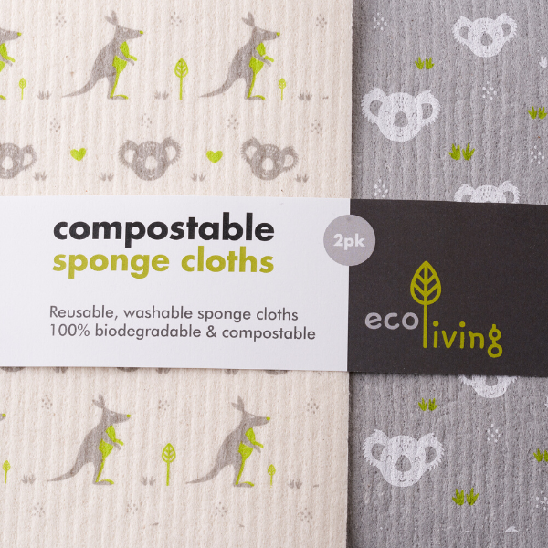 Compostable sponge cloths 2-pack (koala)