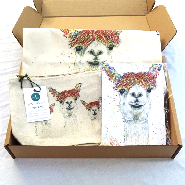 Eco-friendly bag and notepad gift set Lily the Llama