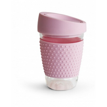 Load image into Gallery viewer, Reusable glass coffee mug pink