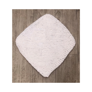 Hand knitted dishcloth white diagonal