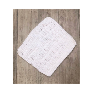Hand knitted dishcloth white patterned