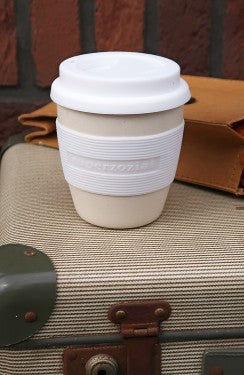 Mini cruiser bamboo travel mug white