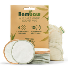 Load image into Gallery viewer, Bamboo reusable make-up wipes Pack of 16