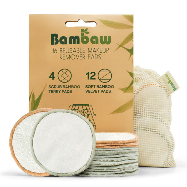 Bamboo reusable make-up wipes Pack of 16