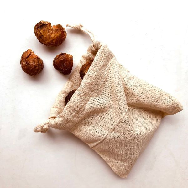 Eco-friendly laundry soapnuts in muslin bag