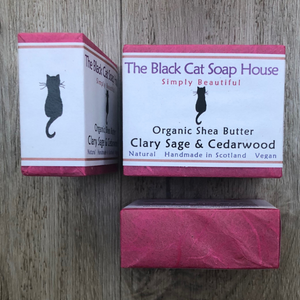 Eco-friendly Black Cat Soap House Soap bar Clary sage and cedarwood