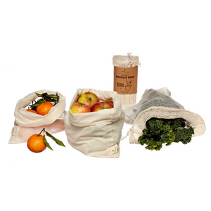 Set of 3 organic grocery and produce bags