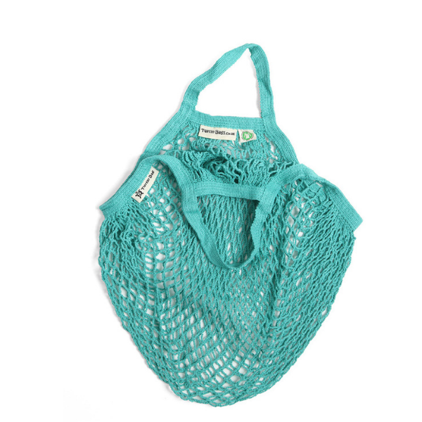 Short-handled string bag aqua