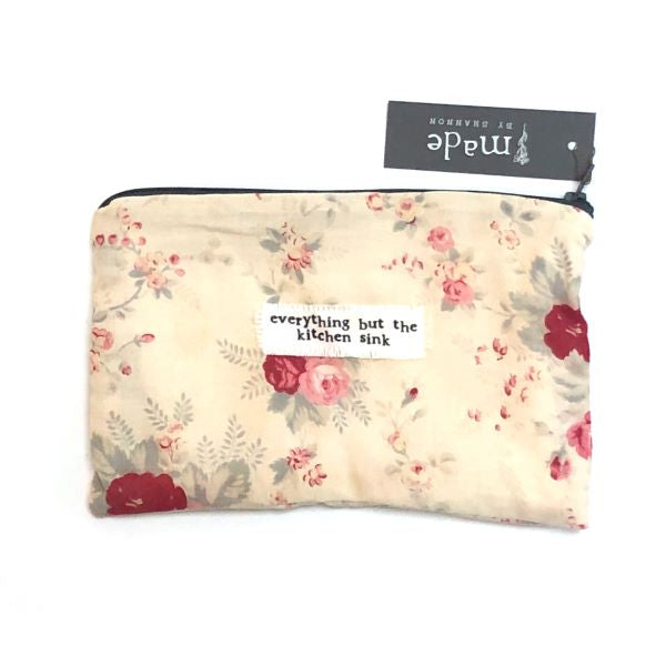 Vintage fabric pouch Everything but the kitchen sink Floral