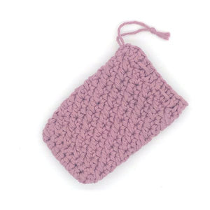 Soap saver bag crocheted pink purple
