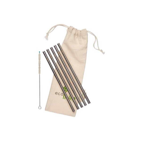 Eco-friendly stainless steel straw set straight