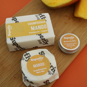 Eco-friendly Superfly conditioner shampoo and lip balm mango