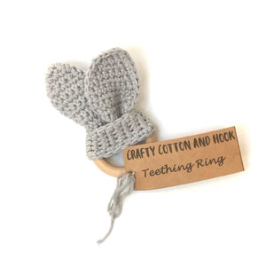 Baby teether grey with label