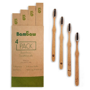 Bamboo toothbrushes set of 4 in box